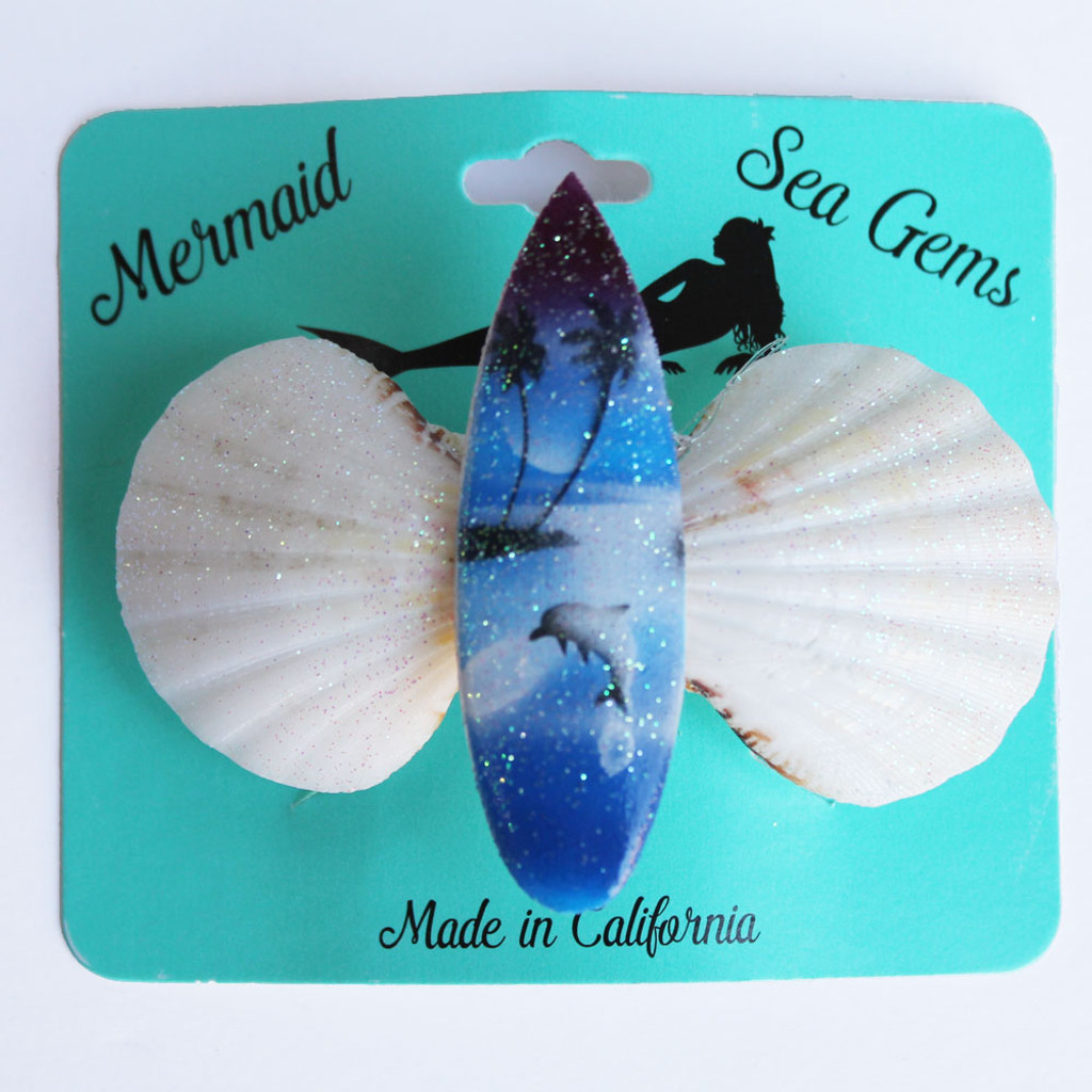 Color Surfboard Hair Clip - Mermaid Sea Gem