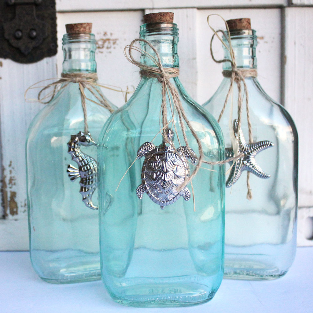Glass Bottles with Pewter Sealife Charms