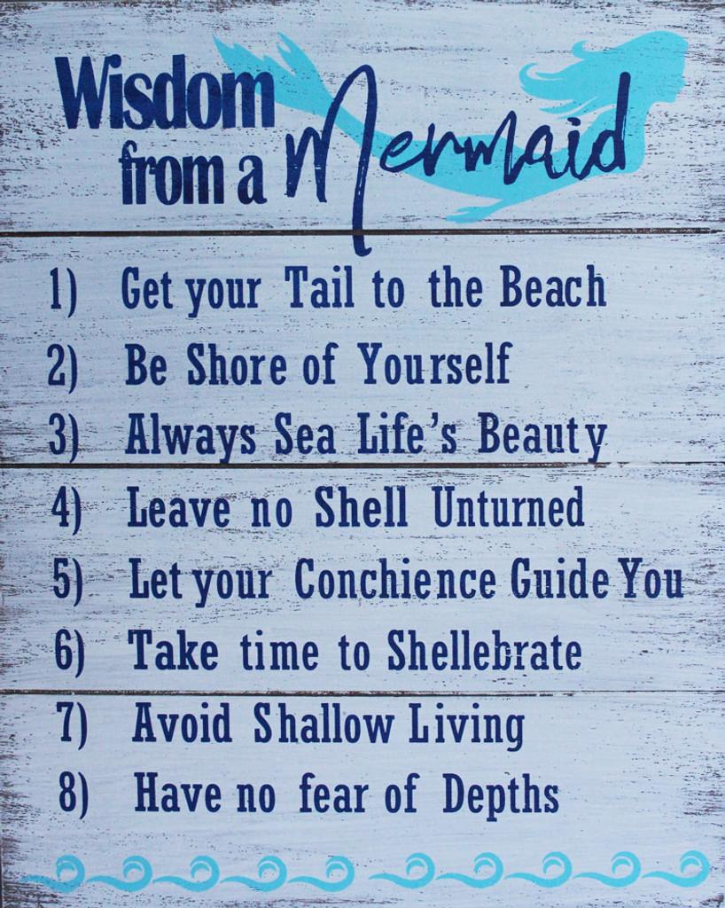 Wisdome from a Mermaid Wood Sign - Mermaid Decor - California ...