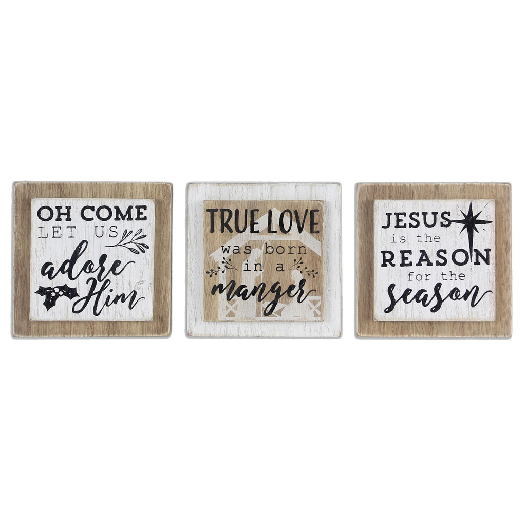 Small Wood Religious Christmas Signs - Set of 3