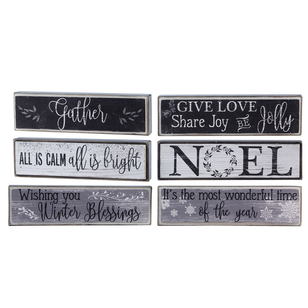 Black & White Christmas Signs - Set of 6