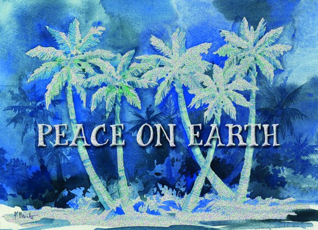 peace on earth blue palms christmas cards - Peace On Earth Christmas Cards