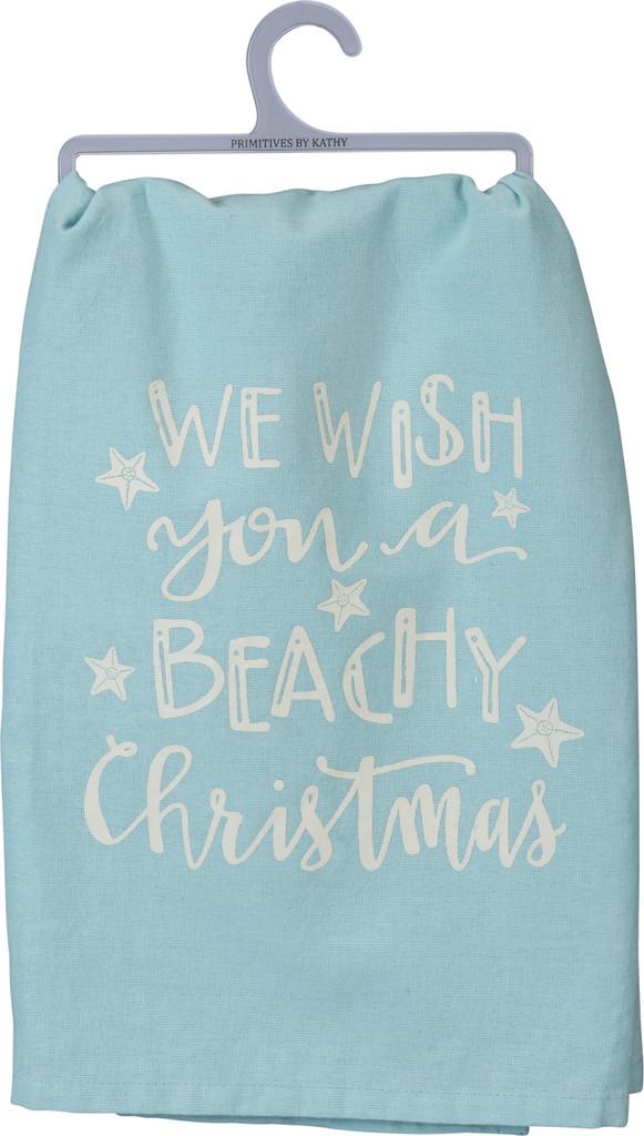 We Wish You a Beachy Christmas Dish Towel