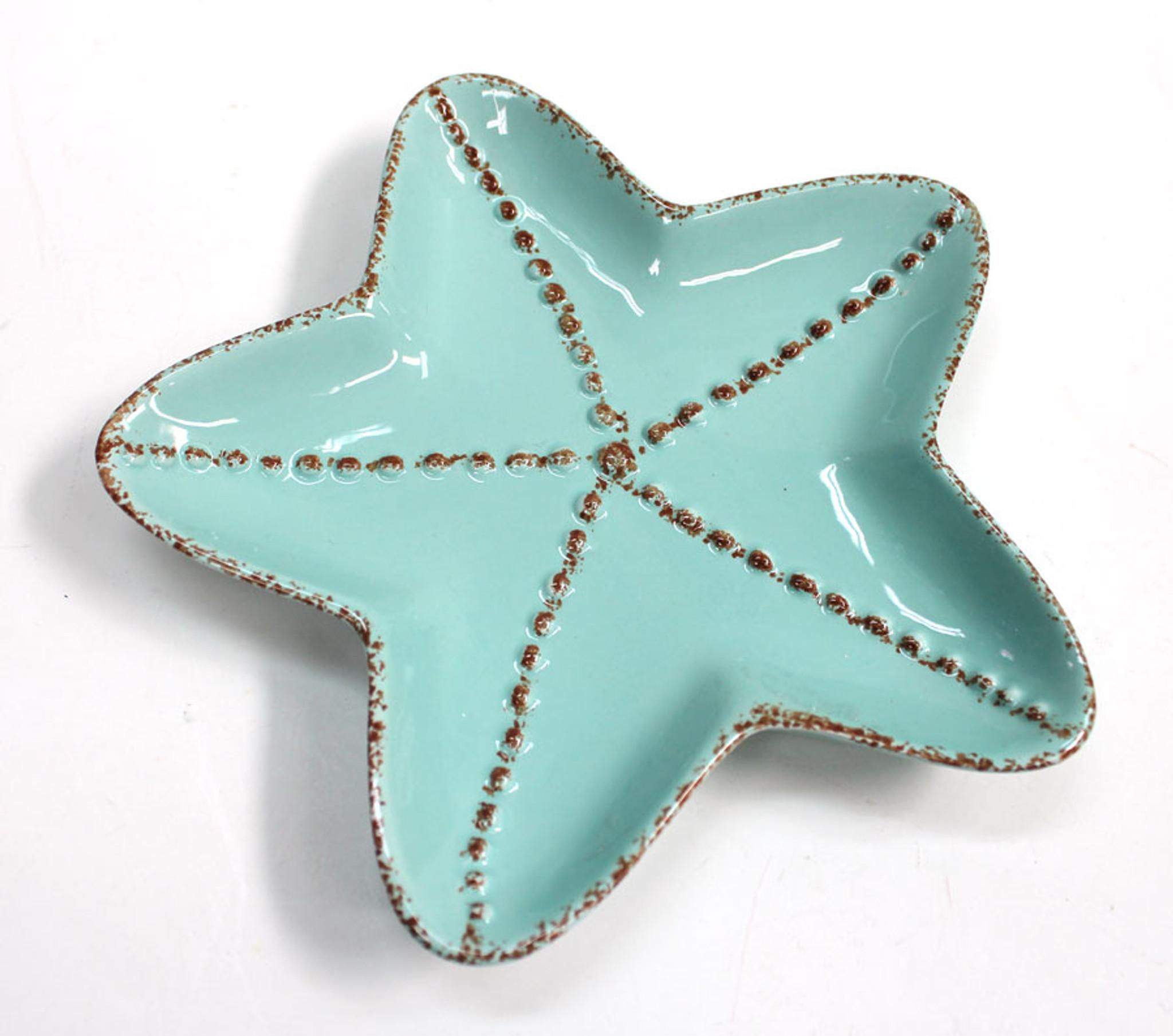 Ceramic Starfish Plate Coastal Appetizer Or Salad Plate