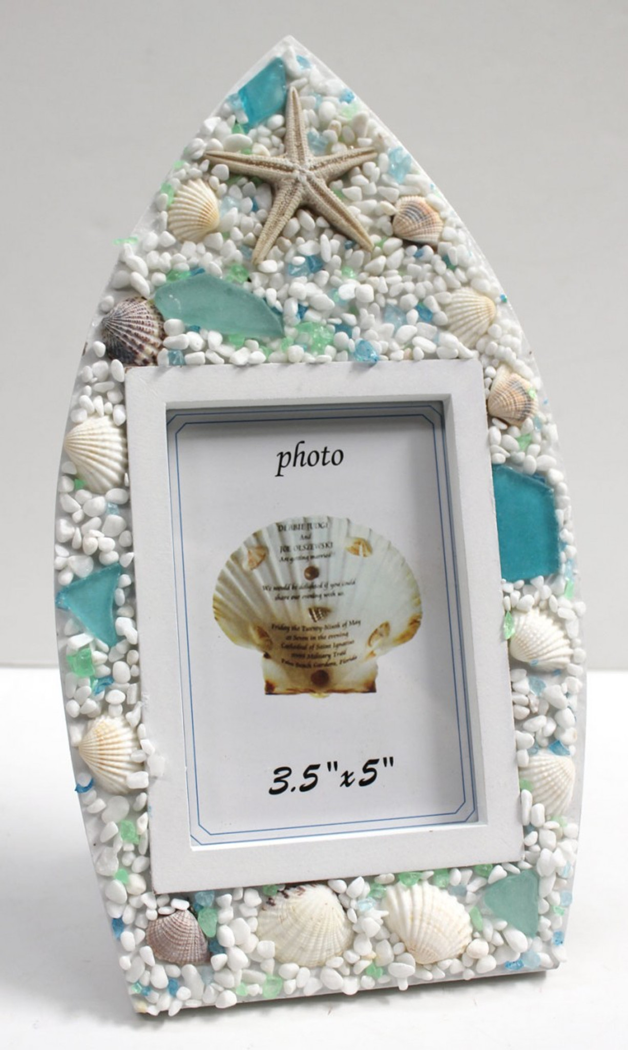 Sea Glass Boat Picture Frame - Surf & Cottage Decor - Vacation Memories