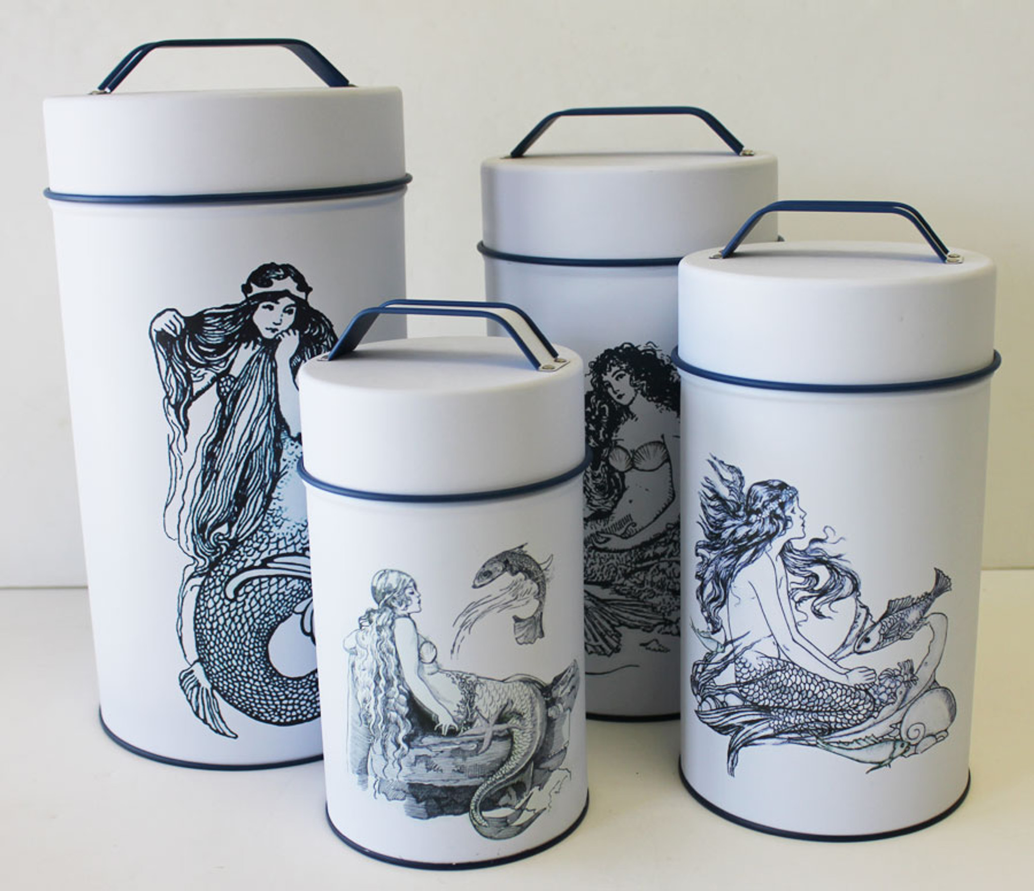 themed kitchen canisters mermaid cylinder tin cans nautical canisters beach