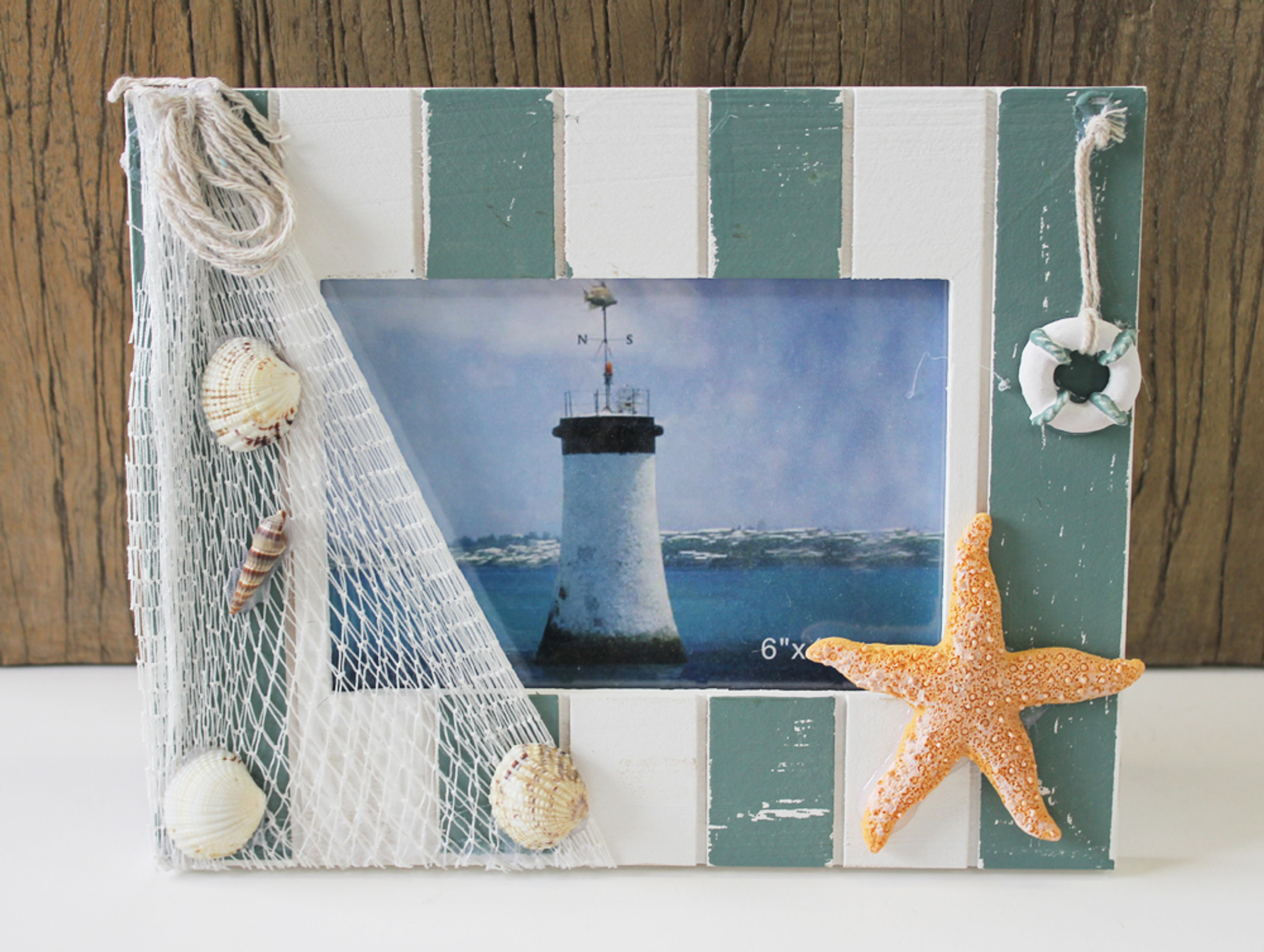 Nautical 4x6 Picture Frame with Fish Net - Coastal Frames & Albums ...