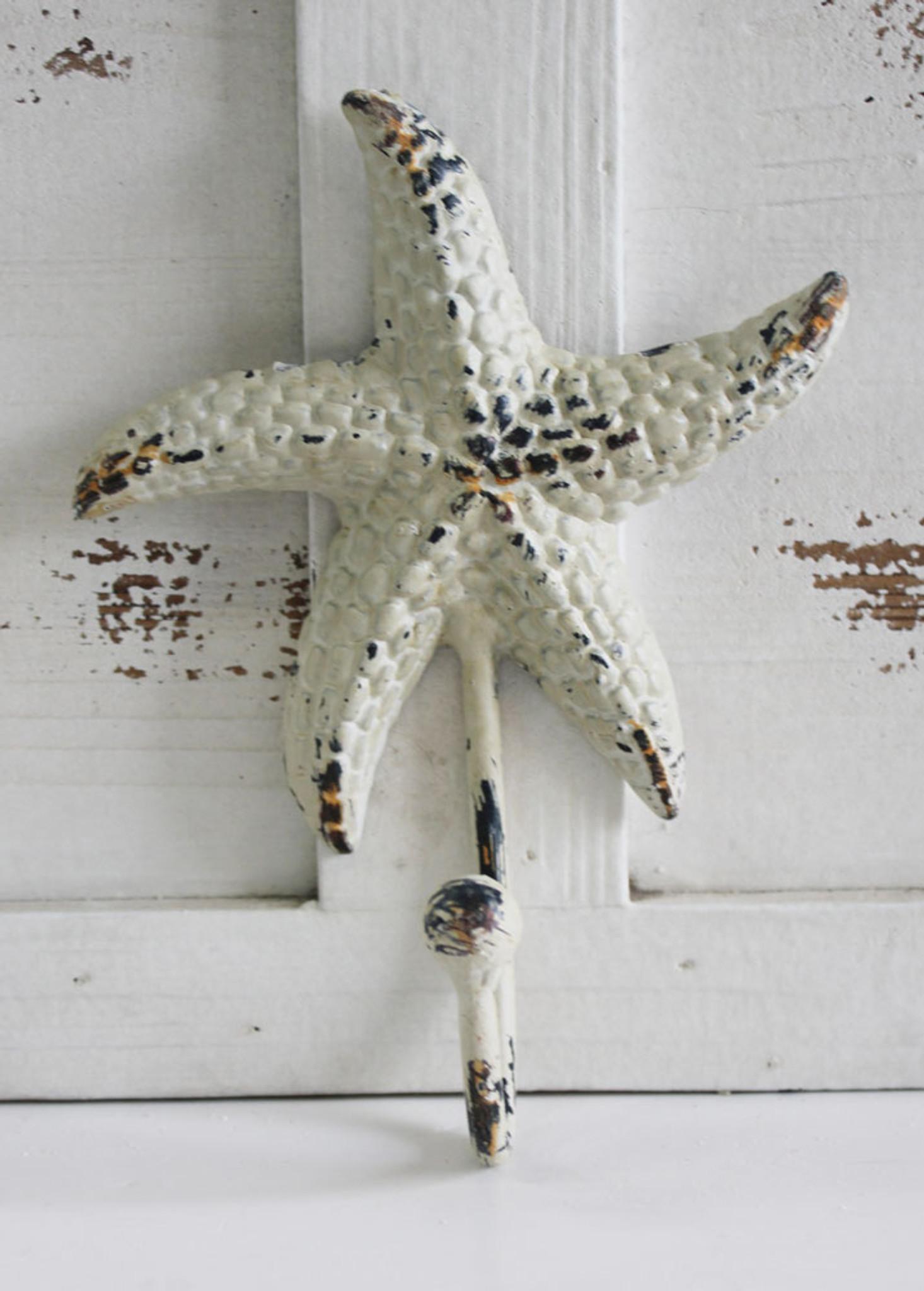 White Starfish Cast Iron Wall Hook Coastal Key Ring Or