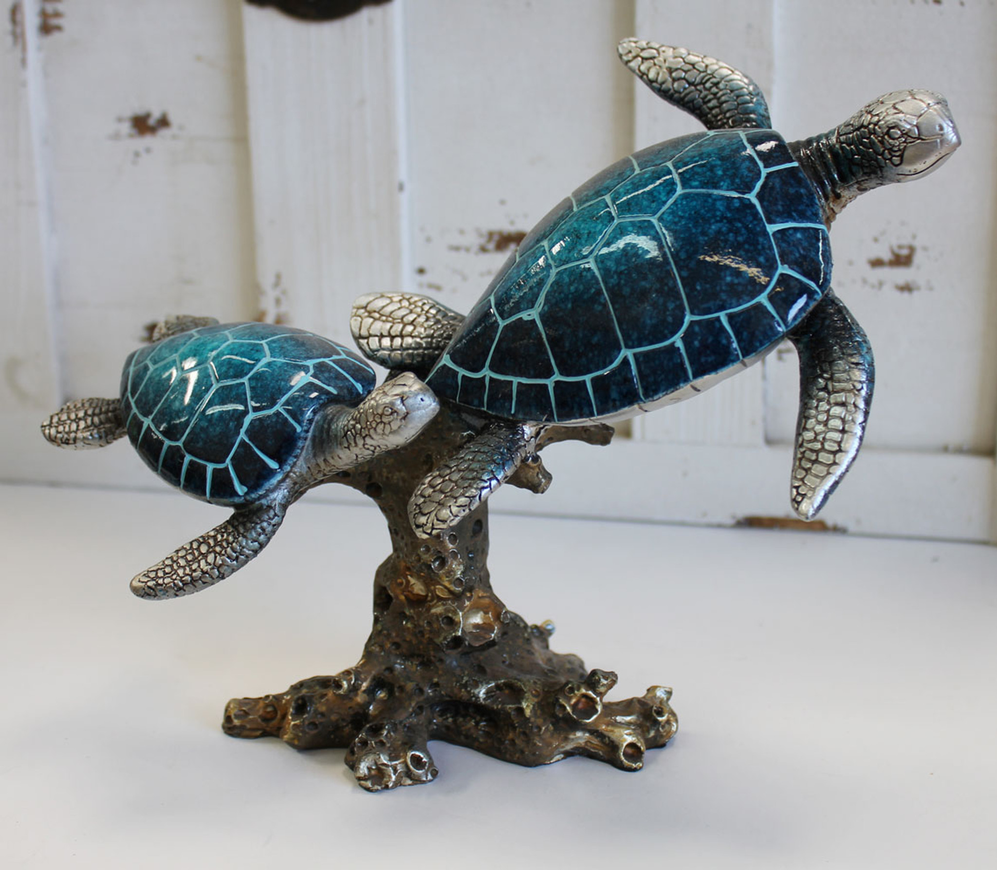 Double Blue Turtles & Seaweed Resin Statue - Sea Turtle ...