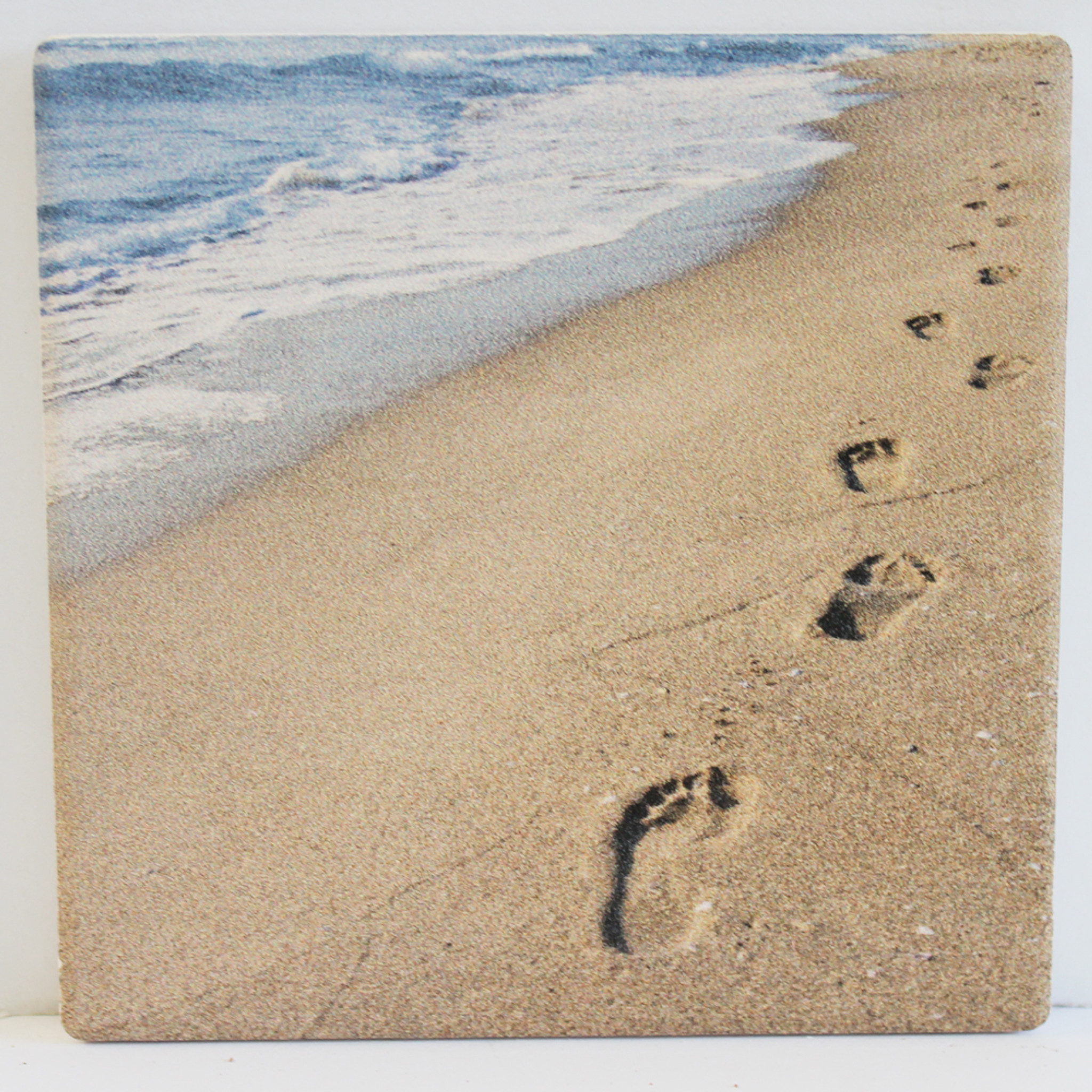 Footprints in the Sand Absorbent Beverage Coaster - Beach ...