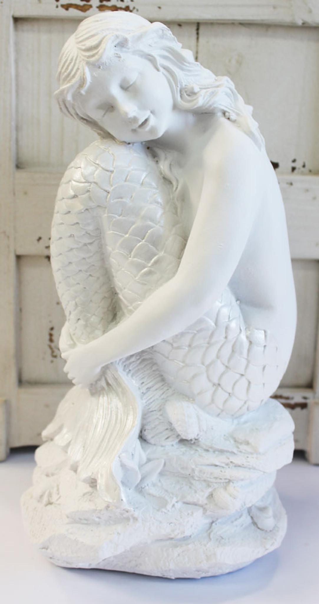 White Mermaid Hugging Tail Figurine Nautical Bedroom