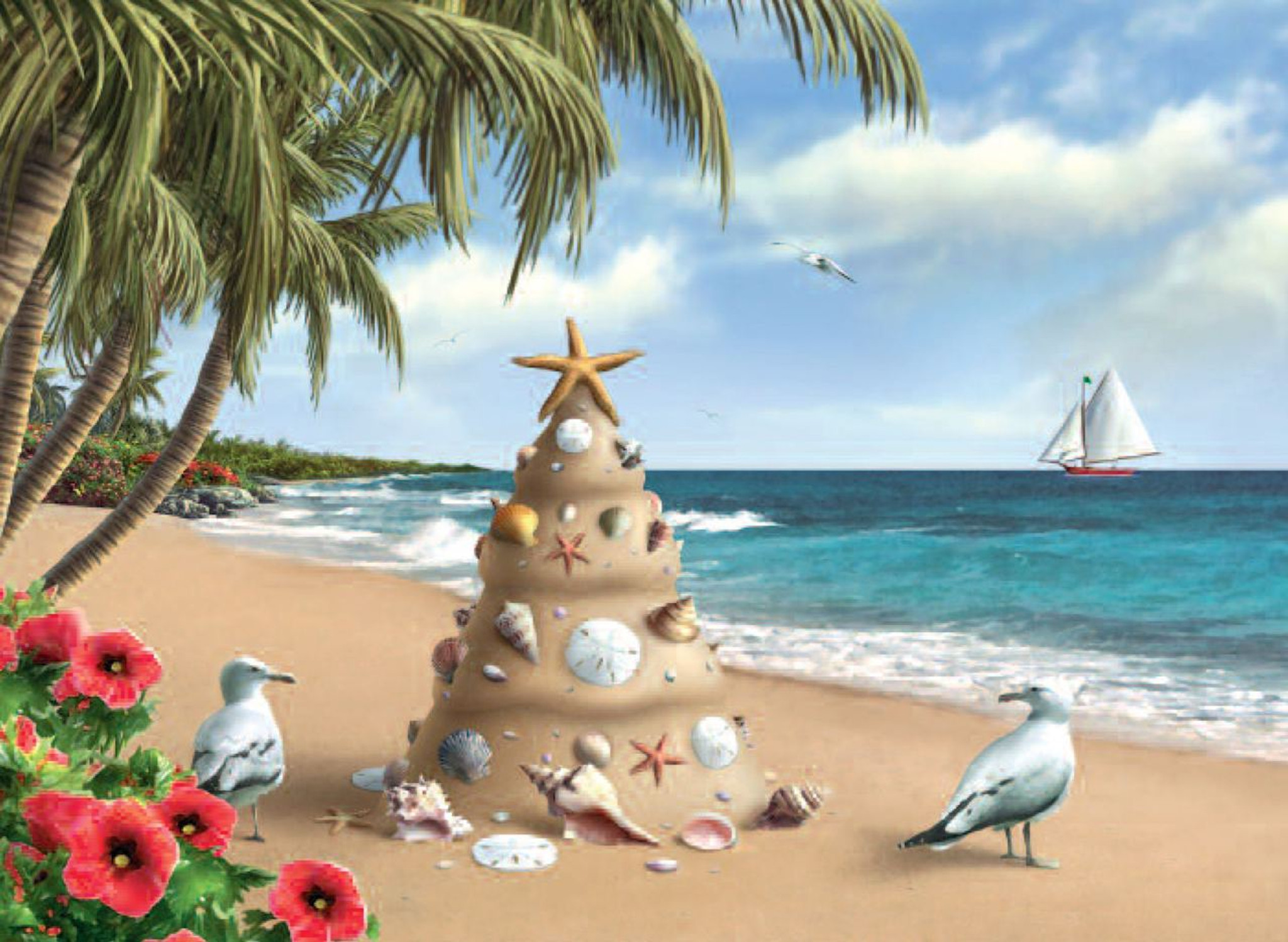 Sand Castle Tree with Seagulls Holiday Cards - Coastal Christmas ...
