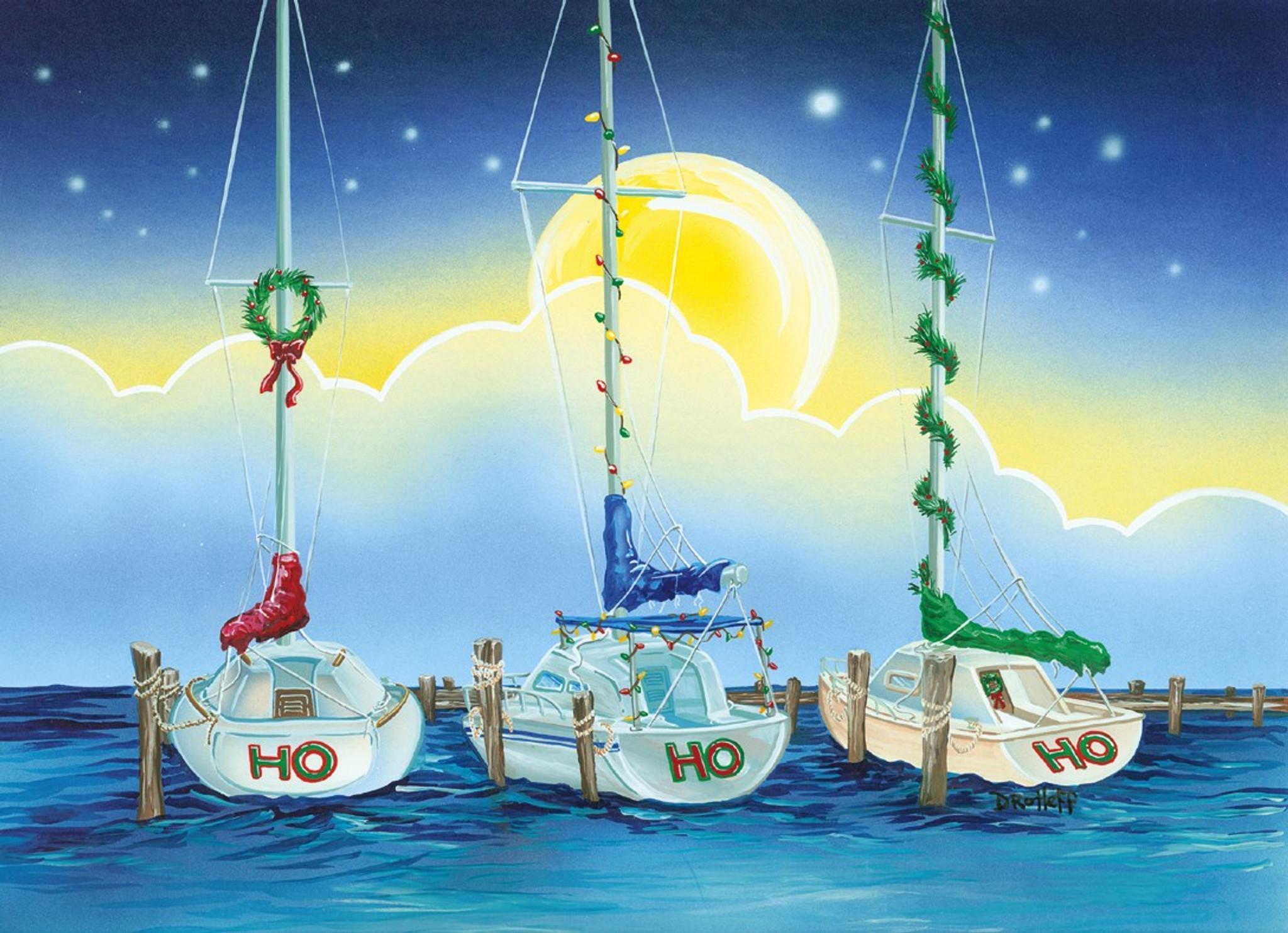 HoHoHo Boats Holiday Cards - Coastal Christmas Stationery ...