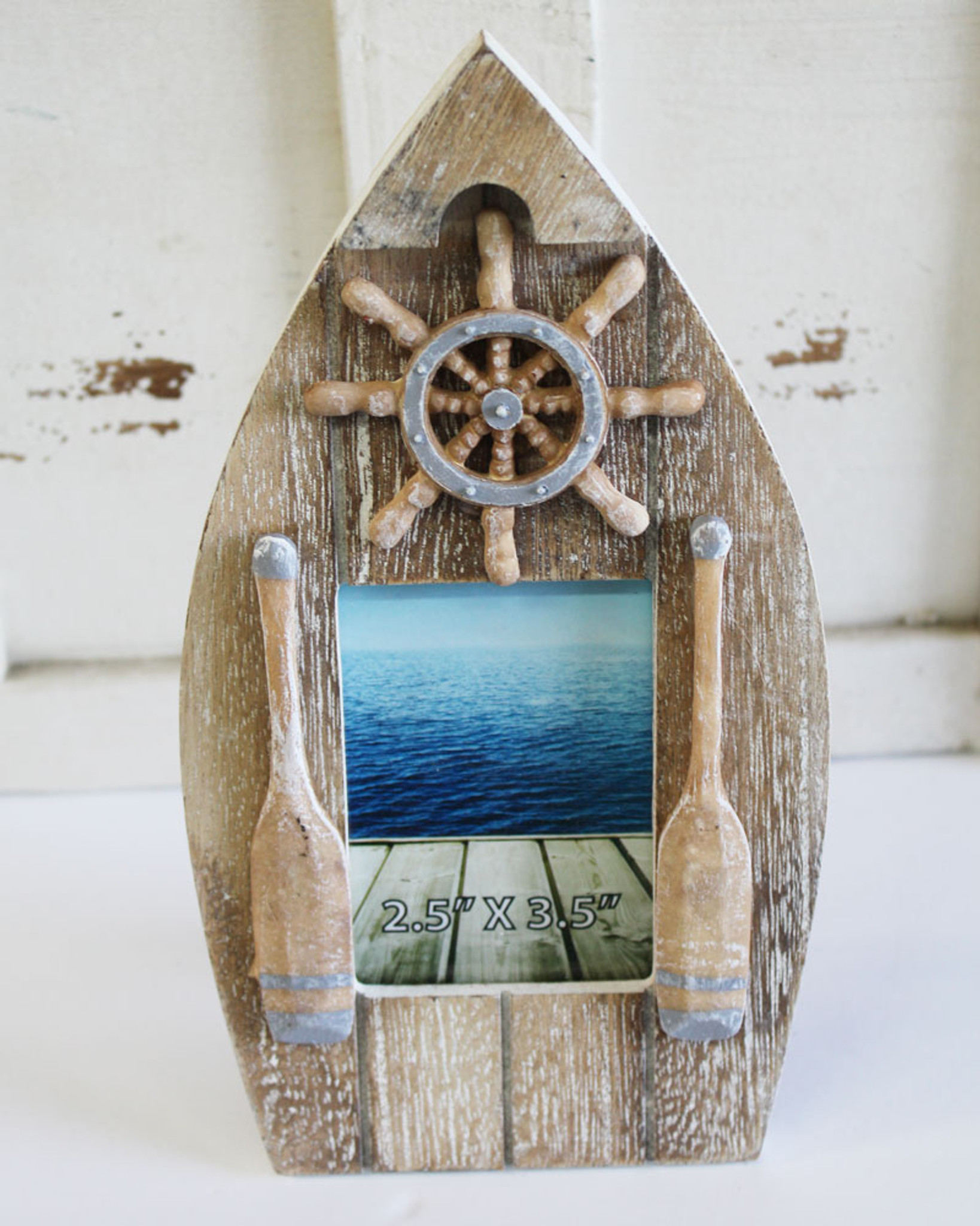 Wood Boat Picture Frame with Ship Wheel - Nautical Photo Frame ...