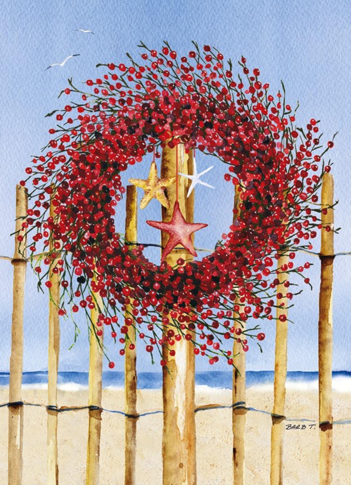 coastal wreath holiday cards coastal christmas stationery