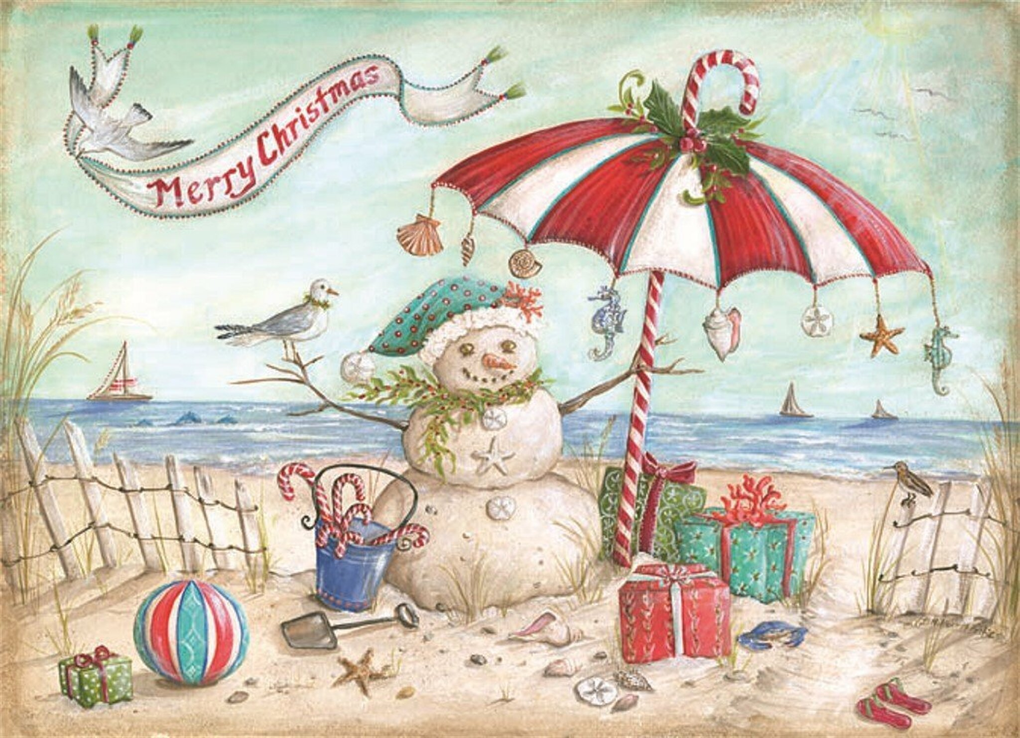 Beach Snowman Holiday Cards - Coastal Christmas Stationery ...