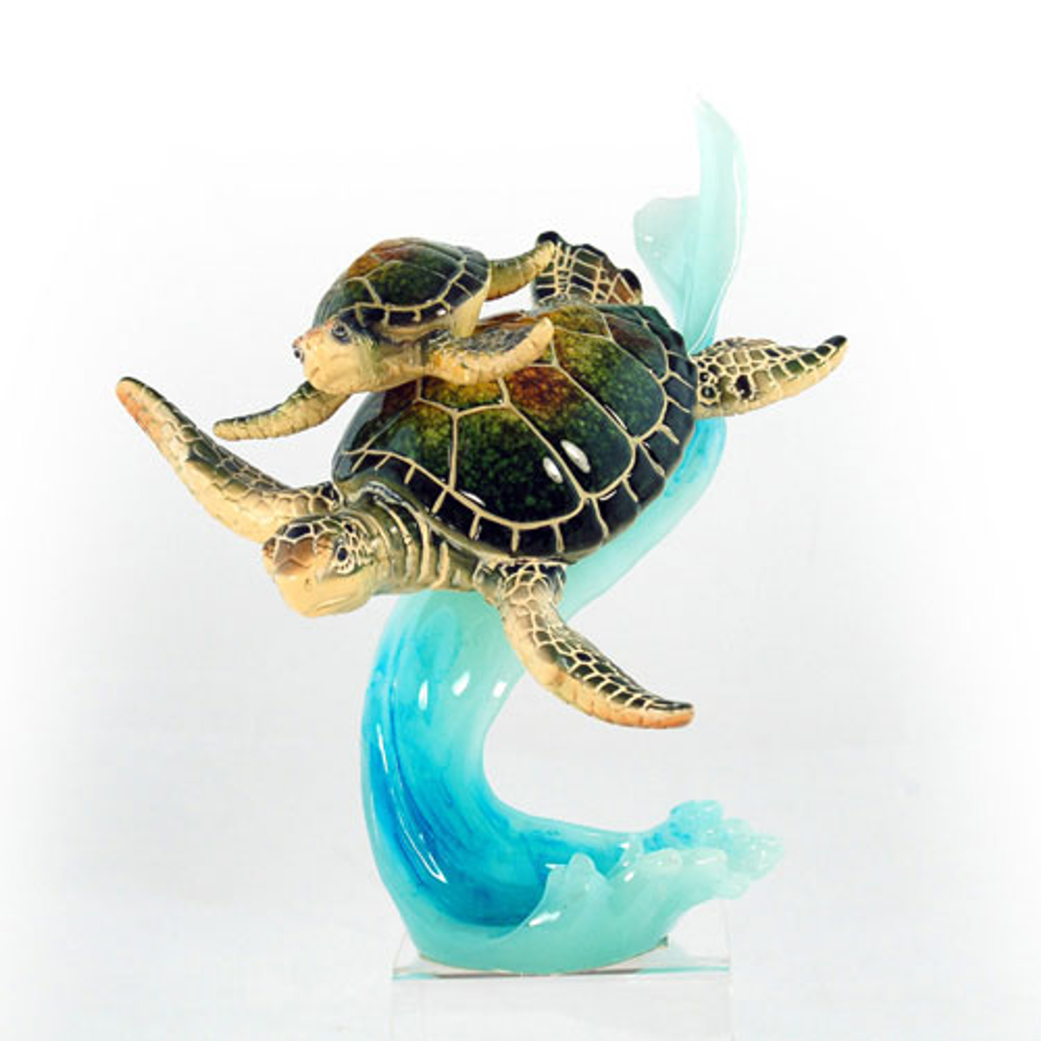green mom baby sea turtle on wave figurine nautical sea decor
