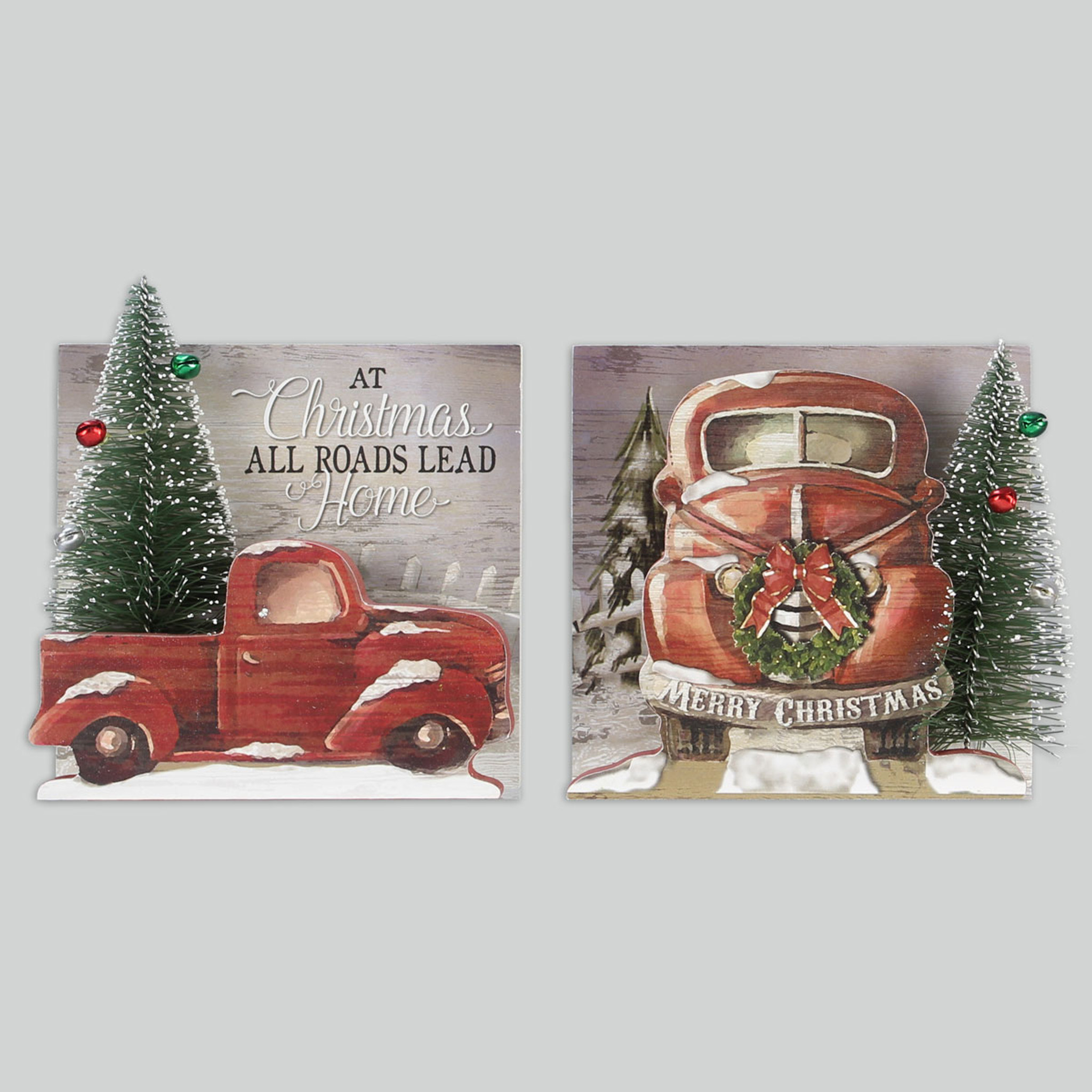 wood winter trucks signs set of 2