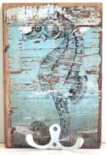 Rustic Seahorse Wood Board Hook