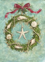 Beach Wreath with Seashells Christmas Card