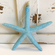 Blue Finger Starfish Glitter Ornament
