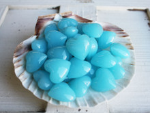 Glass Hearts display in Scallop Shell