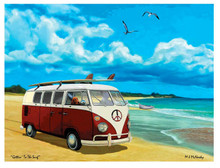VW Bus Canvas with Dog