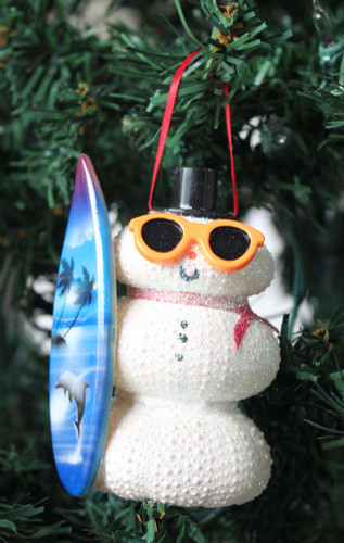 white sea urchin snowman christmas ornament - seashell ornaments