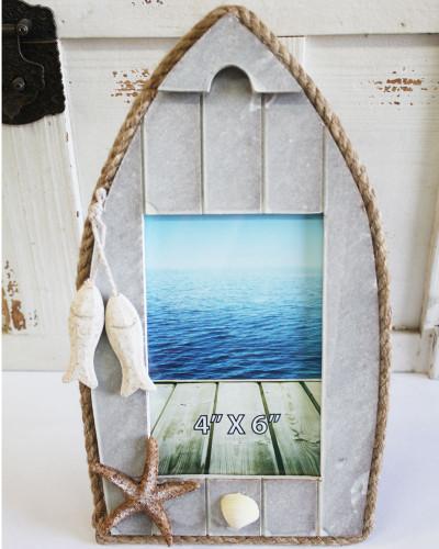 Beach Christmas Cards >> Blue & White Wood Boat Picture Frame - Nautical Photo Frame - Coastal Home Decor - California ...