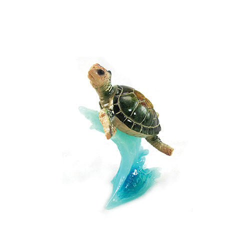 Green mom baby sea turtle on wave figurine nautical sea decor green sea turtle on wave publicscrutiny Image collections