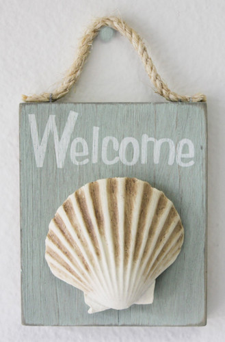 Welcome Seashell Wood Sign Beach Chic Cottage Decor
