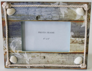 Colorful 4x6 Picture Frame With Seashells Amp Rope Beach