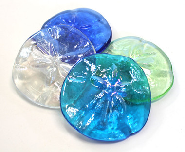 Sand Dollar Colored Glass Paper Weights Coastal Tabletop