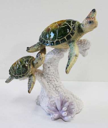 Green Mother Amp Baby Sea Turtle On Coral Resin Figurine