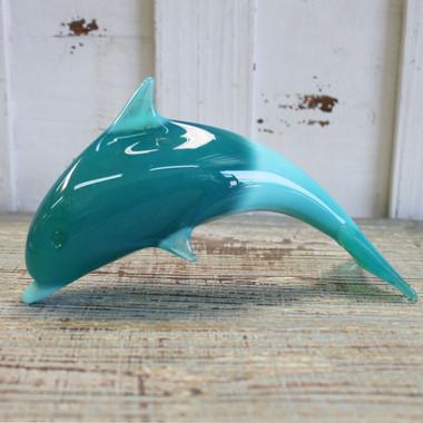 Teal Blue Glass Dolphin Figurine Coastal Beach Decor