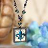 ART-211 Beautiful Blue Fleur de Lis Beaded Necklace