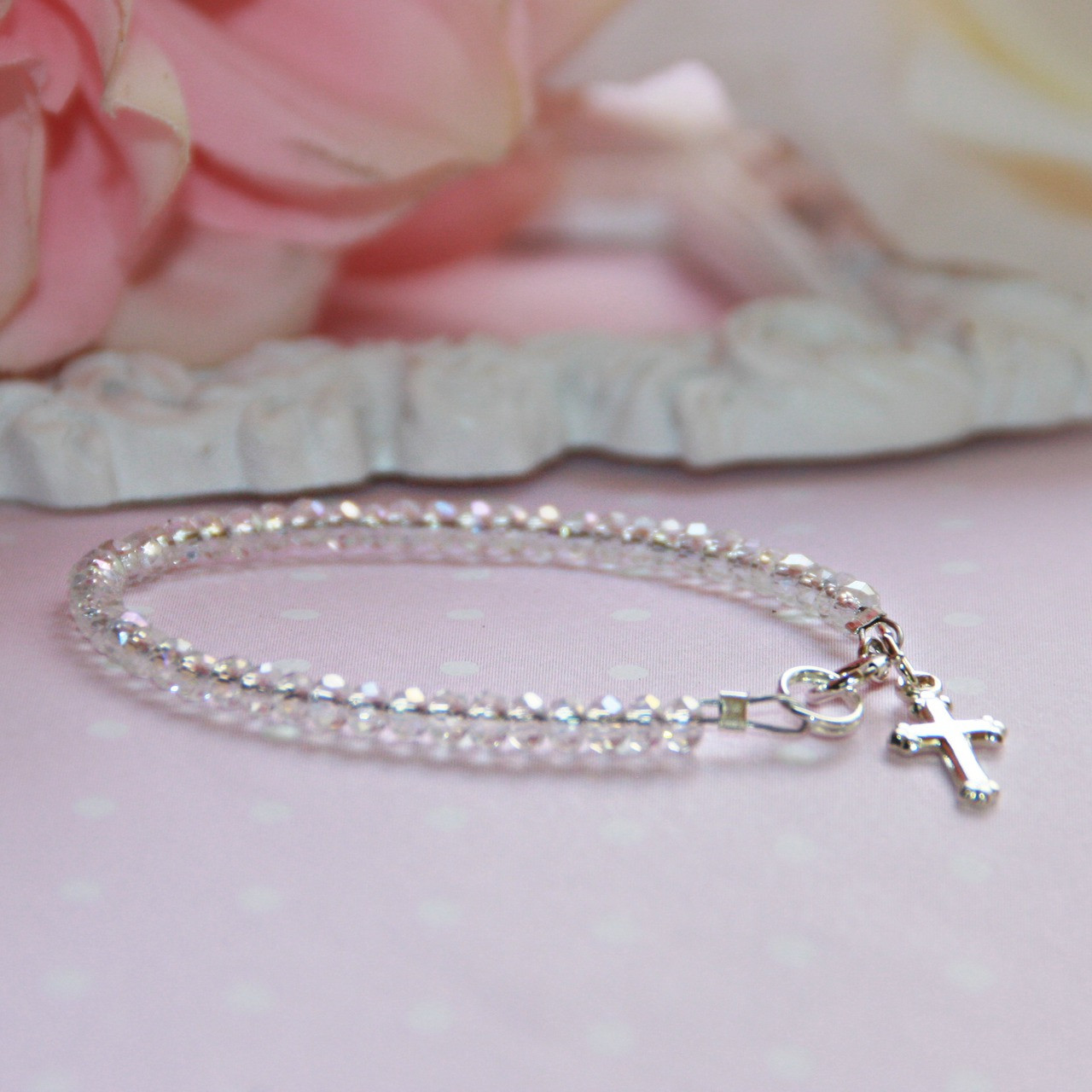 "STG-145CR Infant Crystal AB and Sterling Silver Cross  41/2"" Bracelet"