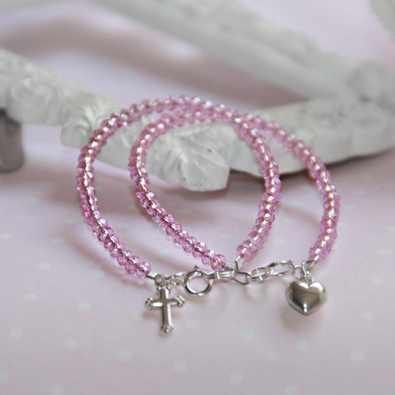 """STG-144CR  CROSS Infant 41/2"""" Stunning Pink Crystal Sterling Silver Bracelet"""
