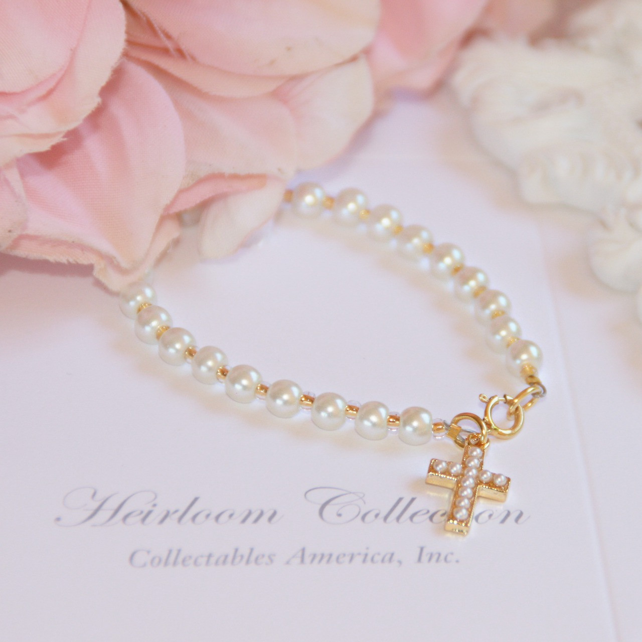 """CJ-326  5"""" Glass Pearls and Seed Beads with Cross Gold-tone 5"""""""