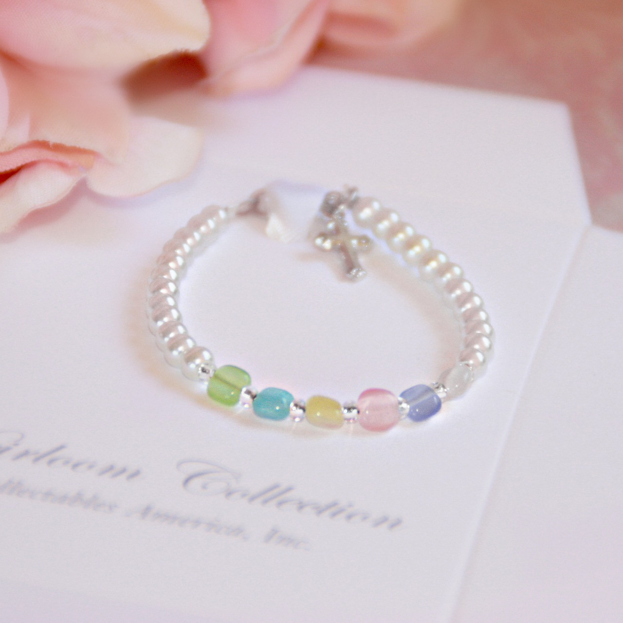 """CJ-128  Oh so Sweet Top Seller Multi-Color Beads and Glass Pearls 4 1?2"""" Infant Braceletu"""