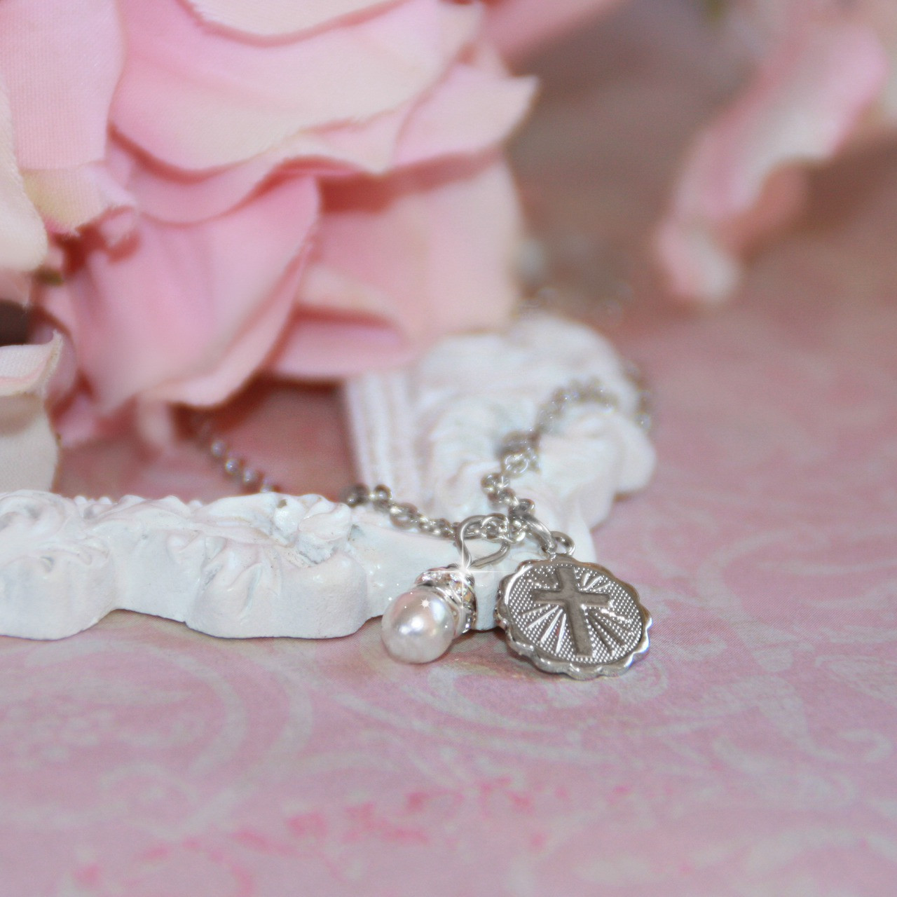 RH-50  Rhodium Cross and Glass Pearl Perfect Baby Necklace