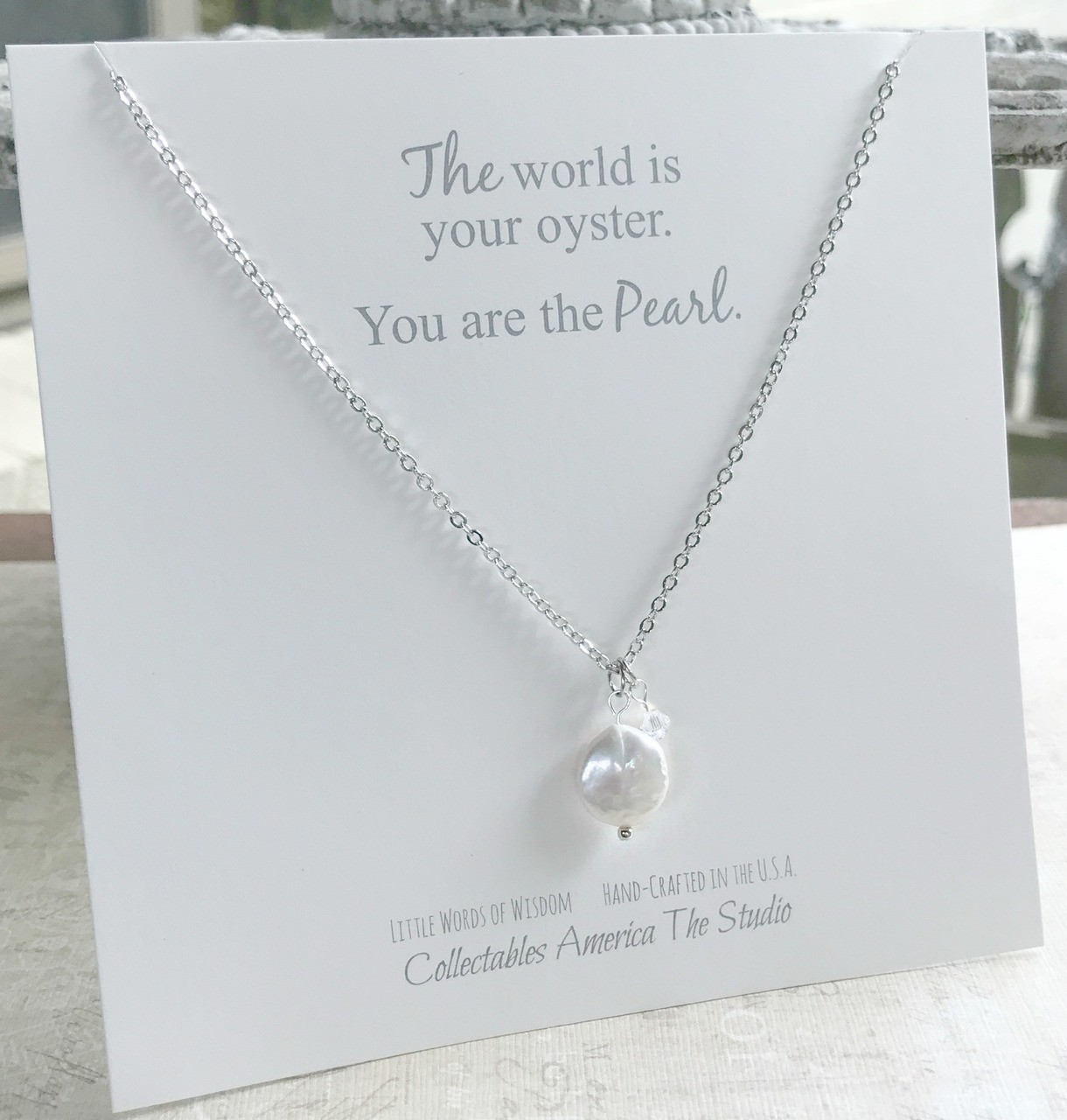 OY-2  Coin Pearl The World is your Oyster Necklace