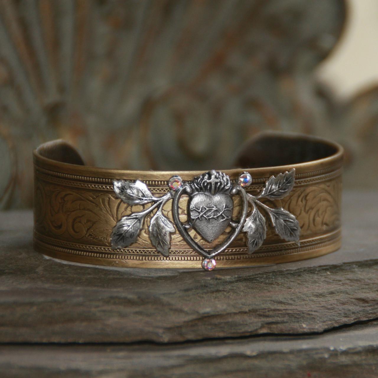 ART-159  Sacred Heart of Jesus Cuff Bracelet