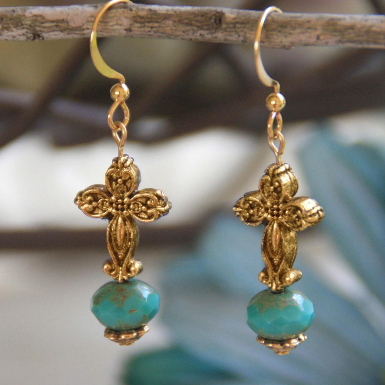 IN-707 Turquoise Glass Cross Earrings