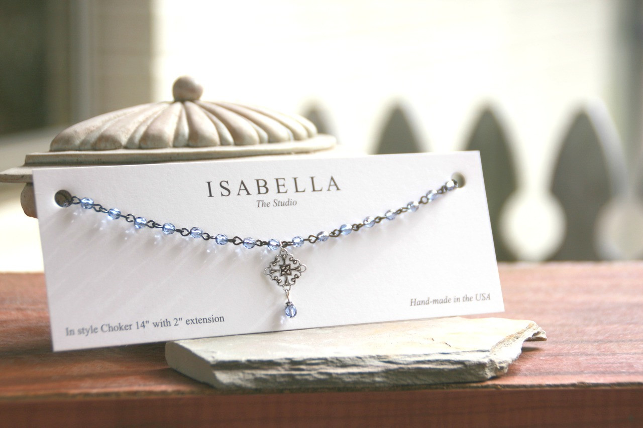 CH-22  Ice Blue Beaded Crystals and Filagree Choker