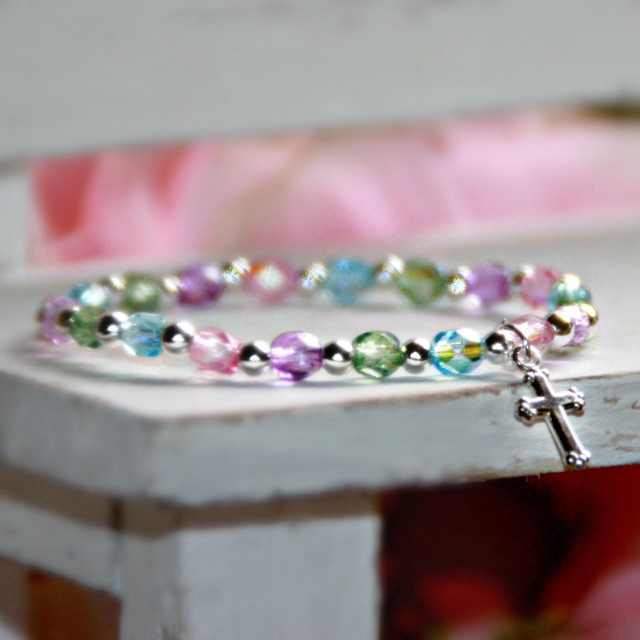 "STG-101  Always a Top Selling 5"" Multi Crystal Sterling Silver Stretchy Bracelet"
