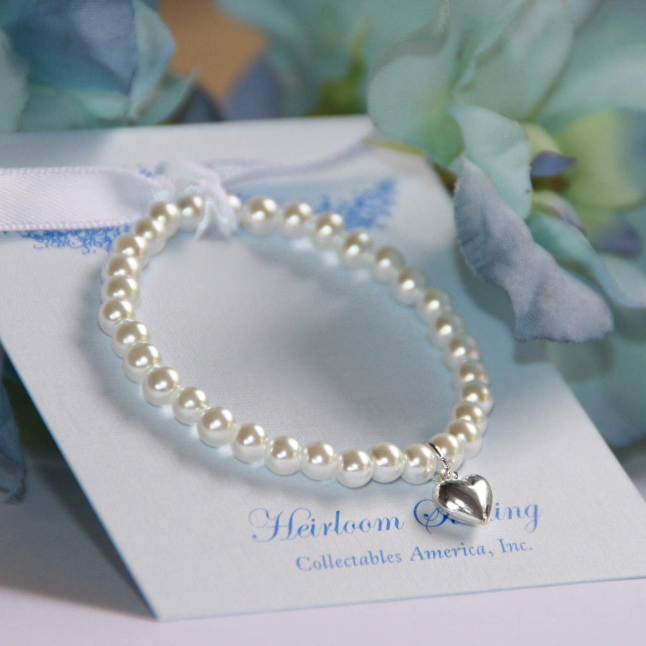 """CJ-5005  Stretchy 5"""" Top Selling Glass Pearl Bracelet with Sterling Silver Puff Heart"""