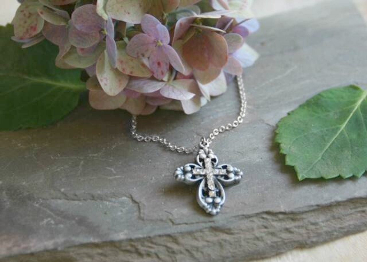 IN-401 Cross Necklace with Crystals