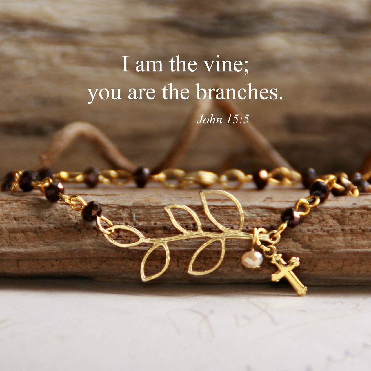 IN-151  I am the vine gold finish beaded bracelet