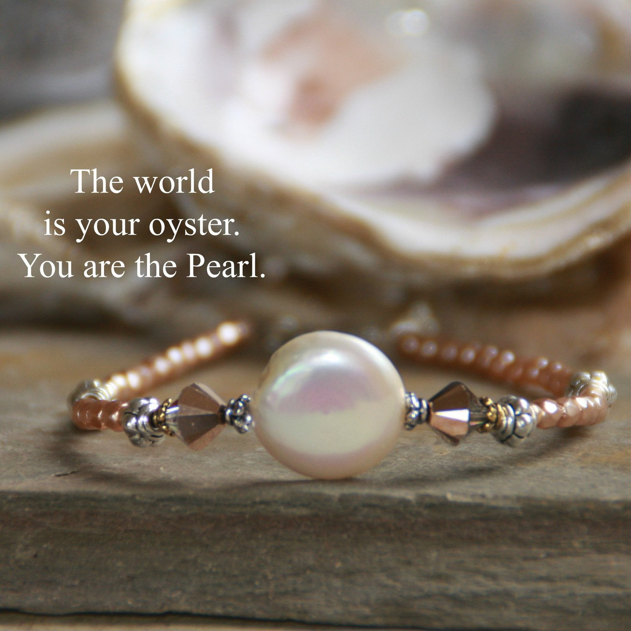 IN-397  The World is your Oyster You are the Pearl Bracelet